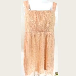 Forever 21 Plus Blush Lace Pleated Dress